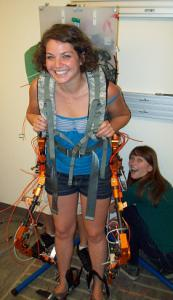 SURF IT participant Rachel Rieger (2011) doing research on the Lower Limb Exoskeleton.